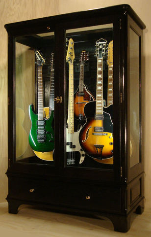 Genial Available Now, One Natural Black Vintage Model Guitar Display Cabinet With  A Slatwall Hanging Interior. Made With Walnut Hardwood.